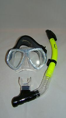 Diving Mask  Crystal Blue W/neoprene Strap & Dry Yellow  Snorkle  Scuba   89-6