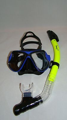 Diving Mask Black W/blue Trim Oil Rubber Coated & Dry Yellow  Snorkle Scuba 93-6