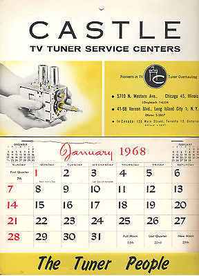 Vintage 1968 Castle Tv Tuner Service Calendar!  Pioneers In Tv! The Tuner People