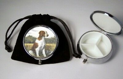 Brittany Dog Breed Pill Box silver tone 3 compartments  with black velour pouch