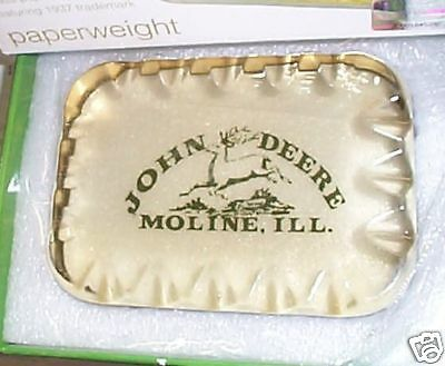 John Deere New In Box Solid Glass Paper Weight