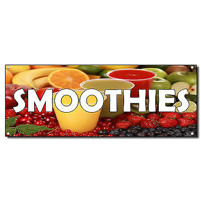 Smoothies With  Fruit Images 13 Oz Vinyl Banner Sign With Grommets