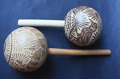 Mexican Shamanic Maracas Shakers Pair Native Musical Percussion Art Instrument