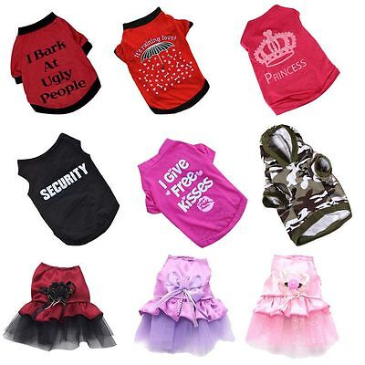 Unisex Pet Fashion Clothes Puppy Dog Cat Vest T Shirt Dress Coat Sweater Apparel