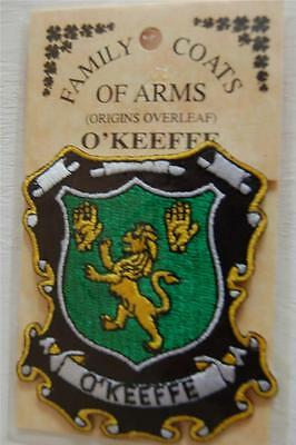 O'Keefe Embroidered PATCH Coat of Arms Family Crest - Sew or Iron On