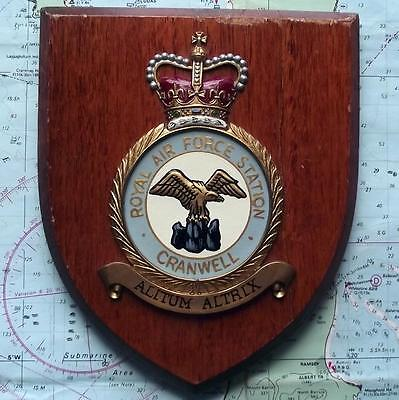 Old RAF Royal Air Force Cranwell Station Crest Shield Plaque