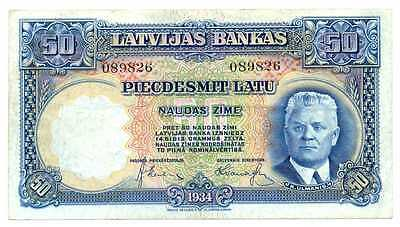 Latvia Latvian Bank Note 50 Latu 1934 VF