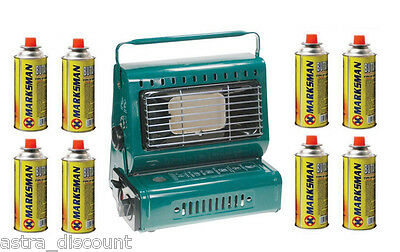 MARKSMAN Portable Gas Heater Camping Fishing Warehouse Shed With 8 Gas Refills