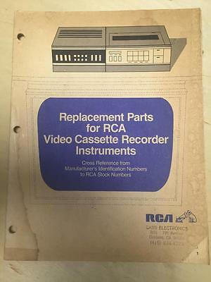 1984 RCA VCR Replacement Parts Manual Catalog ~ VCR Instruments Cross Reference