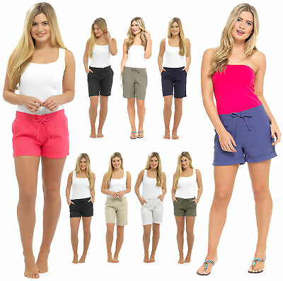Womens Linen Shorts With Elasticated Waist Holiday Beach Hot Pants Girls Size