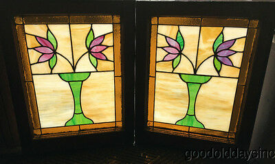 "2 Antique 1920s Classic Chicago Bungalow Stained Leaded Glass Windows 25"" by 20"""