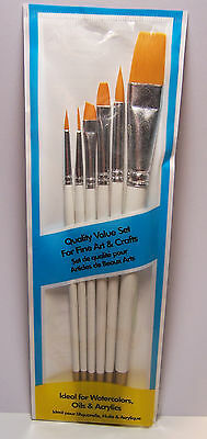 6 Assorted Craft Paint Brushes Round & Flat for Acrylic Watercolor & Oils - New