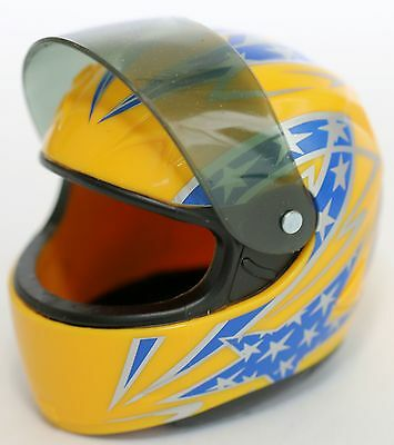 Diecast MODEL SPORTS OR DIRT BIKE HELMET YELLOW GREEN RED or BLUE SCALE 1:6 NEW