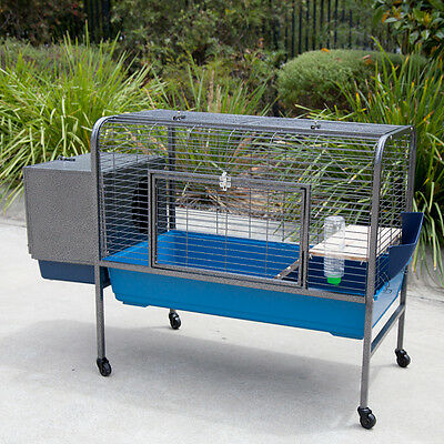Raised on Castor Rabbit Cage Guinea Pig Hutch with External House Box