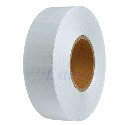50M White Warning Reflective Safety Tape Roll Adhesive Sticker For Trucks Car