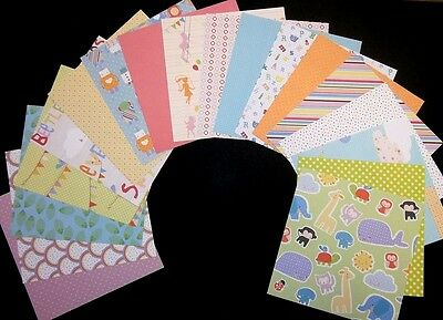 "*FUN TIME* Scrapbooking Papers x 18  - BABY- CHILD THEME 15cm x 15cm - (6"" x 6"")"