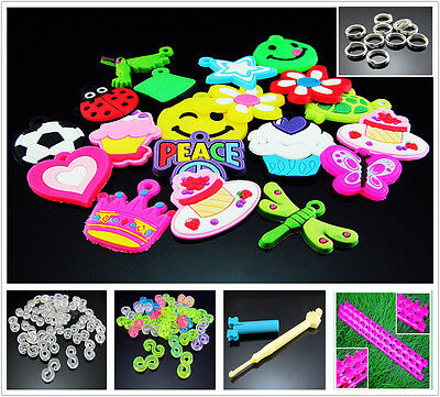 For RAINBOW Rubber Loom Bands Bracelet Making Tool Select S Clips Hook Pendant