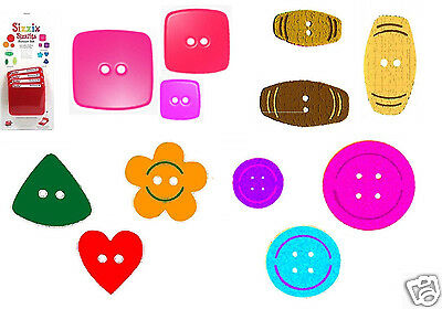 Sizzix Sizzlits RETIRED 4 Dies BUTTONS SET Round Square Flower Heart 12 SHAPES!