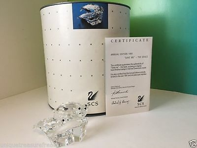 Vintage Retired Swarovski Silver Crystal Figurine Nib Coa Save Me Seals Annual
