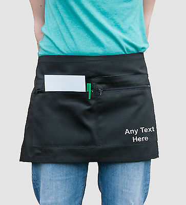 NEW Custom Printed Half Size ZIPPED POCKET WAIST APRON Bar Cafe Waiter Waitress