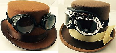 Vintage Victorian Steampunk Cyber Goggles Hat & Glasses Punk Gothic Fancy Dress