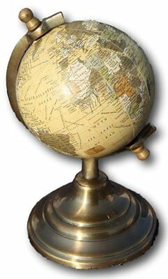 Vintage style 10cm diameter globe on metal stand