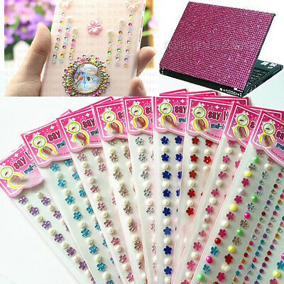 Self Adhesive DIY Glitter Crystals Gems Pearl Stick Diamante Decor Bling Sticker
