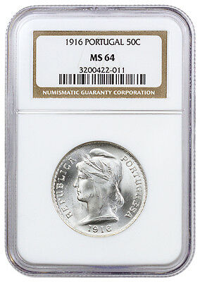 1916 Portugal 50 Centavos Silver Coin NGC MS64 SKU39843