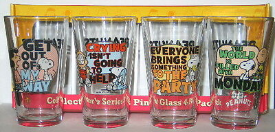 Peanuts Quotes Pint Glass Set of 4 Charlie Brown, Linus, Lucy, Snoopy NEW UNUSED