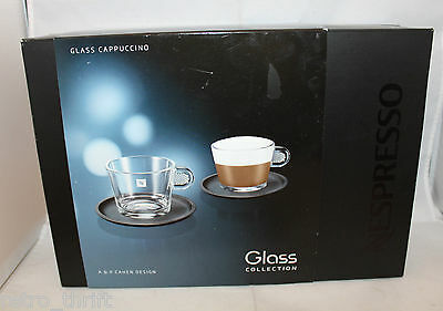 Set of 2 Nespresso Collection Cappuccino Glass Coffee Mug Cup Saucer Damaged Box