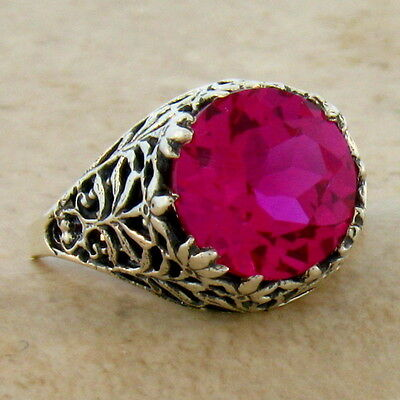 #820 ANTIQUE FILIGREE DESIGN .925 STERLING SILVER RED LAB RUBY RING SIZE 6