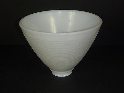 "NOS Vtg Torchiere White Milk Glass Waffle Shade 8"" Dia.  6"" Tall 2 1/4"" Fitter"