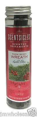 New ! 6 Scentsicles scented Ornaments Snow Berry Wreath 0.9 oz