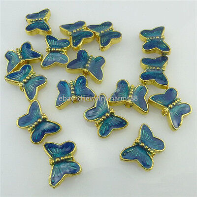 18557 4X Golden Blue Enamel 9mm Mini Butterfly Loose Spacer Beads for Bracelet