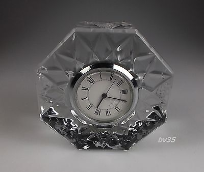 "Rogaska Gallia Crystal Octagonal Clock  2 3/4"" X 2 3/4"" - Perfect"
