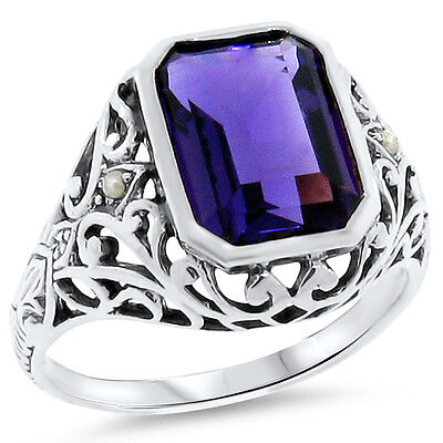 3.5 Ct. Lab Amethyst Antique Victorian Design 925 Silver Ring Size 8.75,    #178