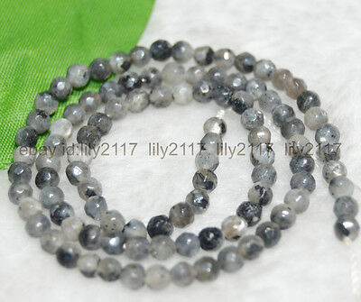 """Faceted 4mm Natural India Labradorite Gems Round Loose Beads 15"""" Strand AAA"""