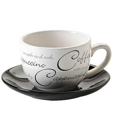 Price & Kensington Script White Cappuccino Cup and Saucer