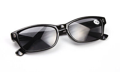 Men Womens Black Frame&Lens Fashion Sun Reader Reading Sunglasses Shades+1.0~3.5