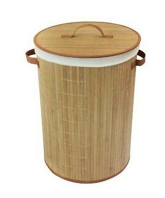 Natural 35cm x 50cm Round Bamboo Collapsible Laundry Basket with Lining