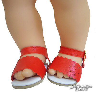 Red Scalloped Sandals Shoes for Bitty Baby Doll Clothes
