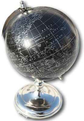 Stylish black and silver 20cm diameter globe on metal stand