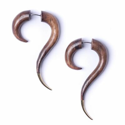81stgeneration Wood Brown Brass Gold Tone Spiral Fake Stretcher Tribal Earrings