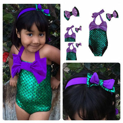 Kids Baby Girls Little Mermaid Bikini Set Swimwear Costume Swimsuit Bathing Suit