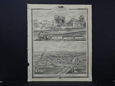 Iowa, 1875 Birds Eye View Map, Clermont, Trains, Fayette, Winneshiek M3#15