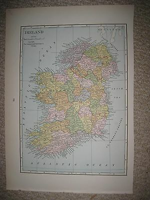 Superb Antique 1930 Ireland Map Railroad Ulster Connaught Munster Leinster Rare