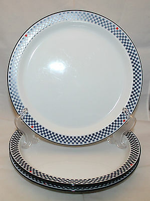 Dansk Bistro Solvang Set of 3 Dinner Plates  Dishes Check White Navy Blue AS-IS