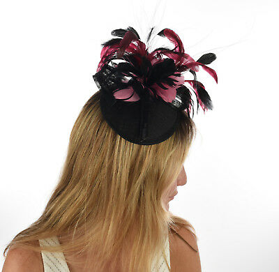 Spring Racing Race Party Melbourne Cup Feather Fascinator Hot Pink Black COMB