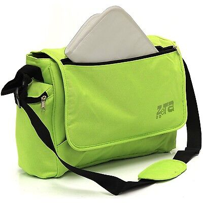 Baby Travel Zeta Changing Bag Plain LIME Complete With Changing Matt