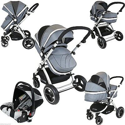 iSafe Pram System 3 in1 Baby Travel Pramette Grey Complete With Car Seat